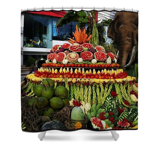 Shower Curtain featuring the photograph Carved Watermelon, Surin Elephant by Mr Photojimsf