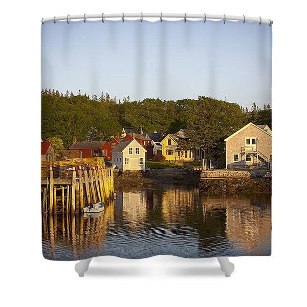 Carvers Harbor At Sunset, Vinahaven, Maine Shower Curtain