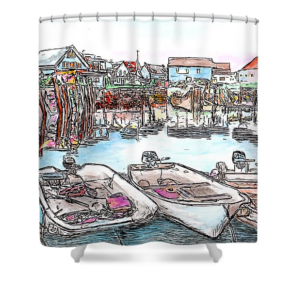 Carvers Harbour With Boats , Vinal Haven,  Maine Shower Curtain