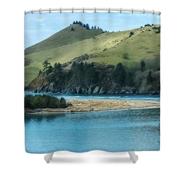 Cascade Head Panorama Shower Curtain