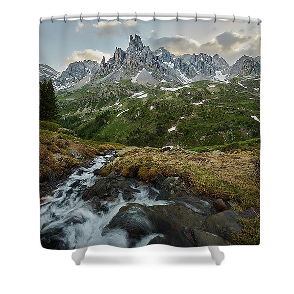 Cascade In The Alps Shower Curtain