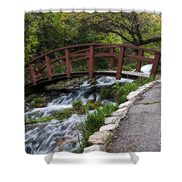 Cascade Springs Bridge Shower Curtain
