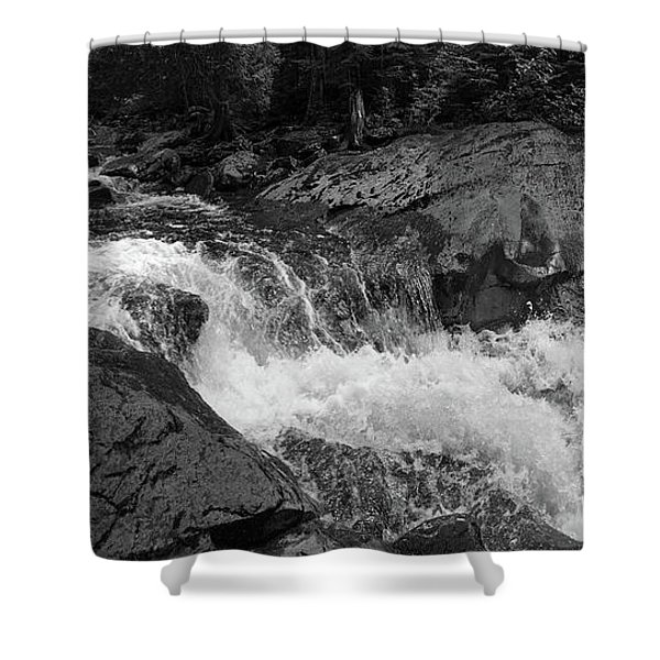 Cascade Stream Gorge, Rangeley, Maine  -70756-70771-pano-bw Shower Curtain
