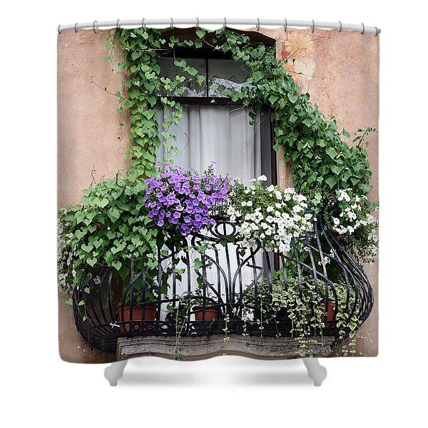 Cascading Floral Balcony Shower Curtain