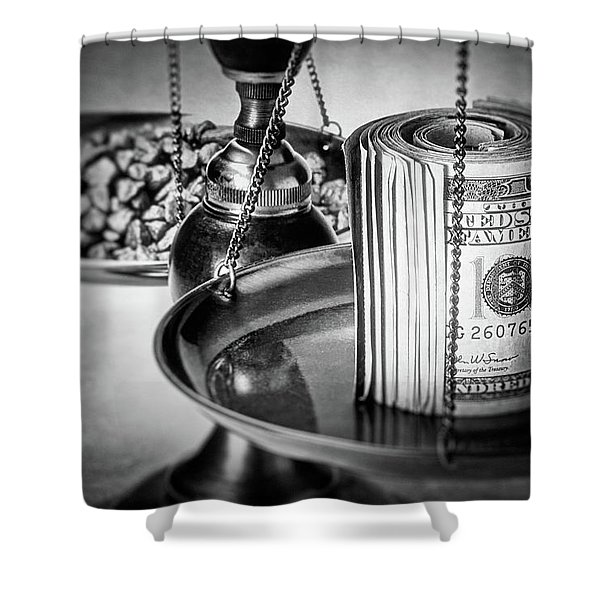 Cash Versus Gold Shower Curtain