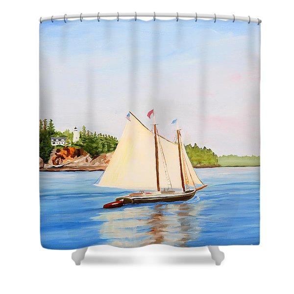 Castine Harbor And Dice Head Light Shower Curtain