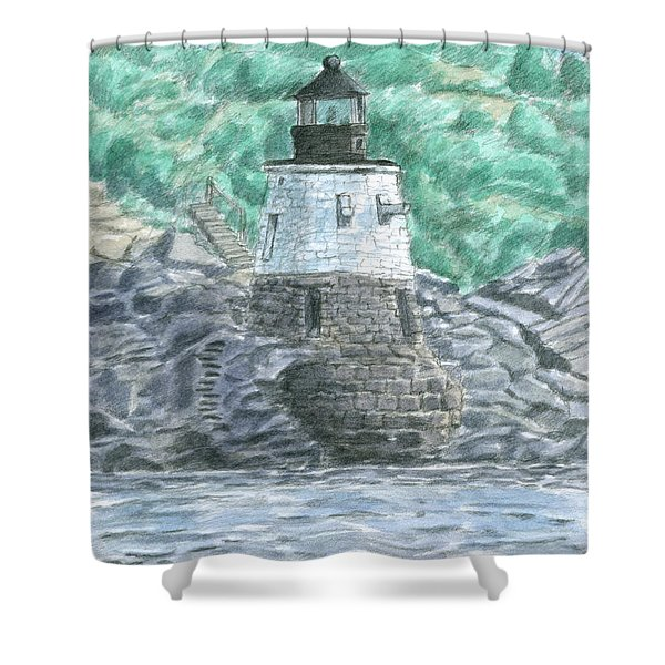 Shower Curtain featuring the painting Castle Hill Lighthouse by Dominic White