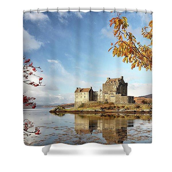 Castle In Autumn Shower Curtain