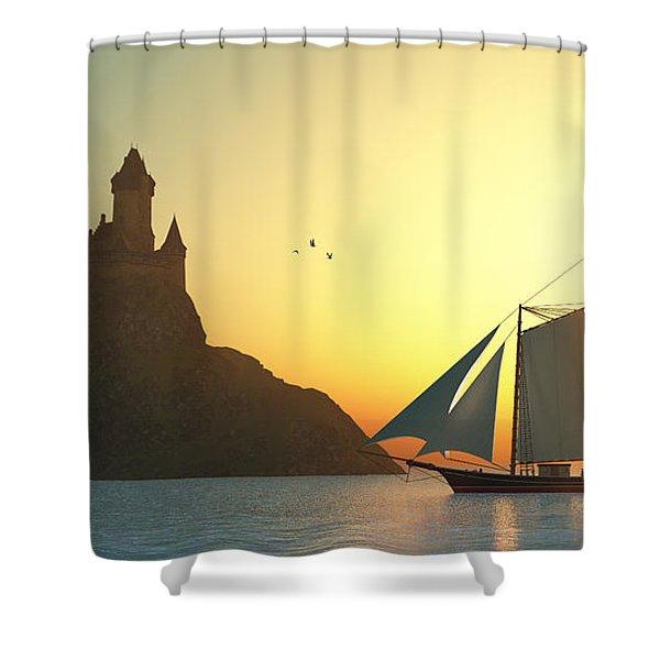 Castle On The Sea Shower Curtain