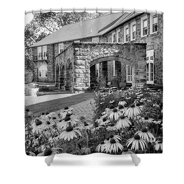 Castle Portico In Black And White Shower Curtain