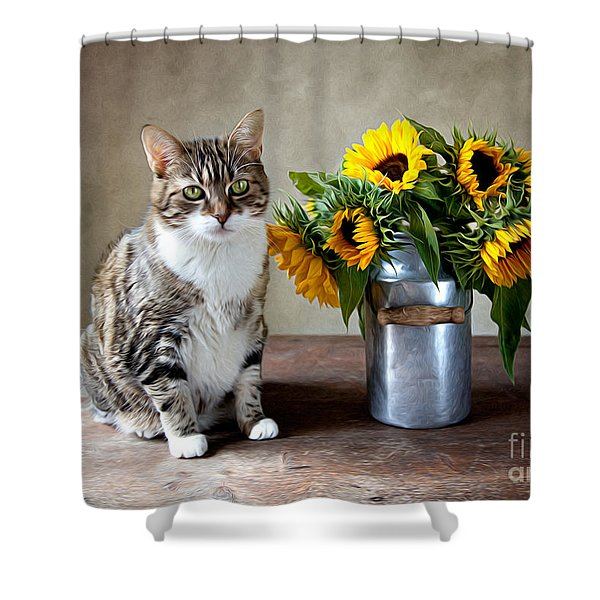 Cat And Sunflowers Shower Curtain