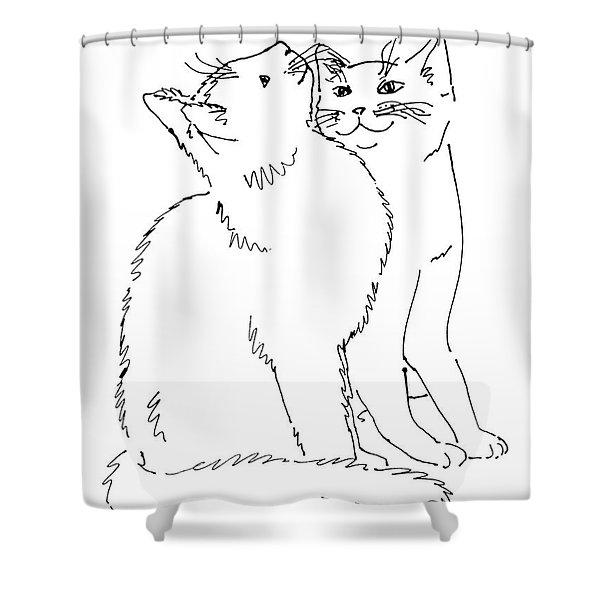 Cat-art-curious Shower Curtain