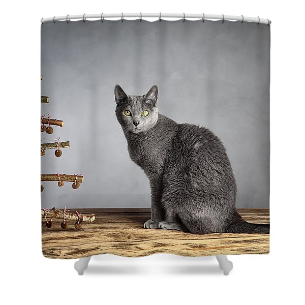 Cat Christmas Shower Curtain
