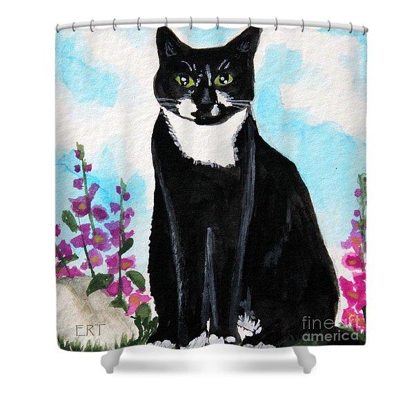Cat In The Garden Shower Curtain