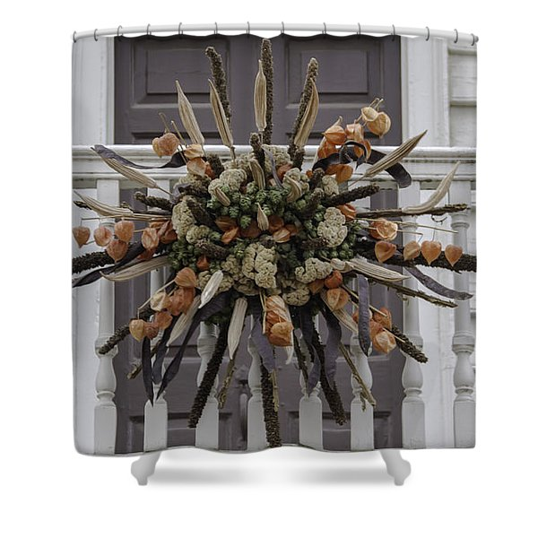 Cat Tail And Chinese Lantern Wreath Shower Curtain