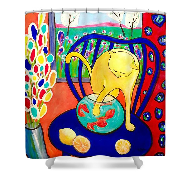 Cat - Tribute To Matisse Shower Curtain