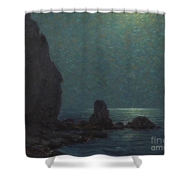 Catalina Island Coast Under A Moonlit  Shower Curtain