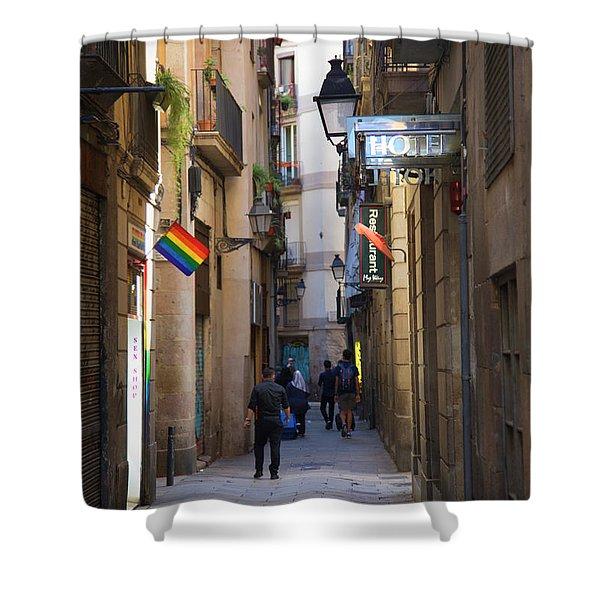 Catalonia Flag La Rambia Gothic Quarter Hotel Spain  Shower Curtain