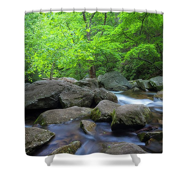 Shower Curtain featuring the photograph Catawba Stream And Rocks Panorama by Ranjay Mitra
