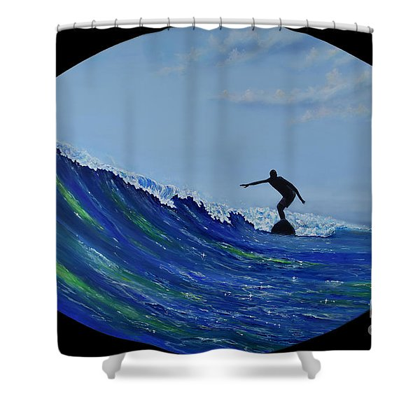 Shower Curtain featuring the painting Catch A Wave by Mary Scott