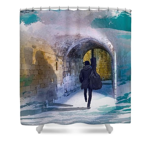 Catching The Tube With My Guitar Shower Curtain