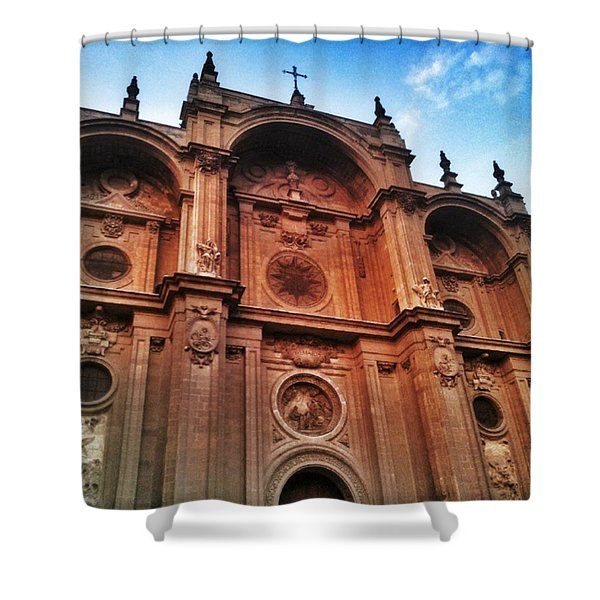 Catedral De #granada View From Plaza Shower Curtain