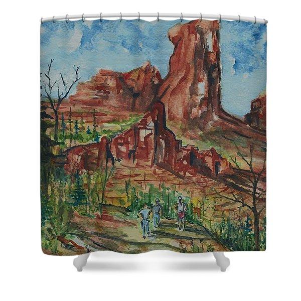 Hiking Cathedral Rock,  Sedona, Az. Shower Curtain