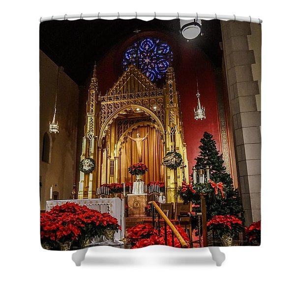 Catholic Christmas Shower Curtain