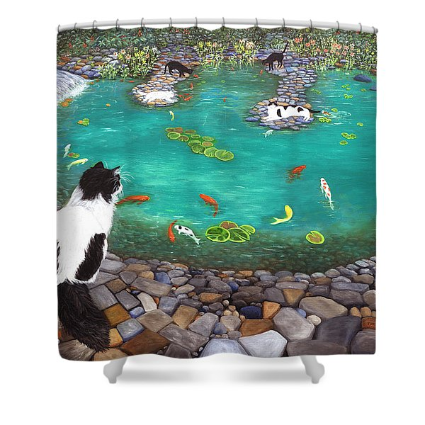 Cats And Koi Shower Curtain