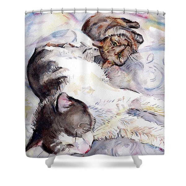 Cats In Watercolor Shower Curtain