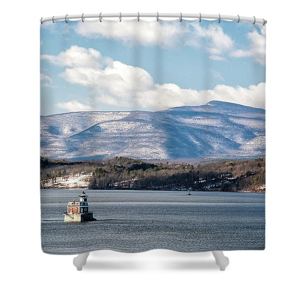 Shower Curtain featuring the photograph Catskill Mountains With Lighthouse by Nancy De Flon