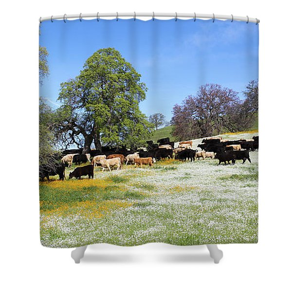Cattle N Flowers Shower Curtain