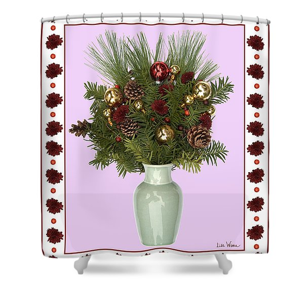 Celadon Vase With Christmas Bouquet Shower Curtain