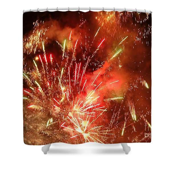 Celebratory Fireworks And Firecrackers Light Up The Sky Shower Curtain