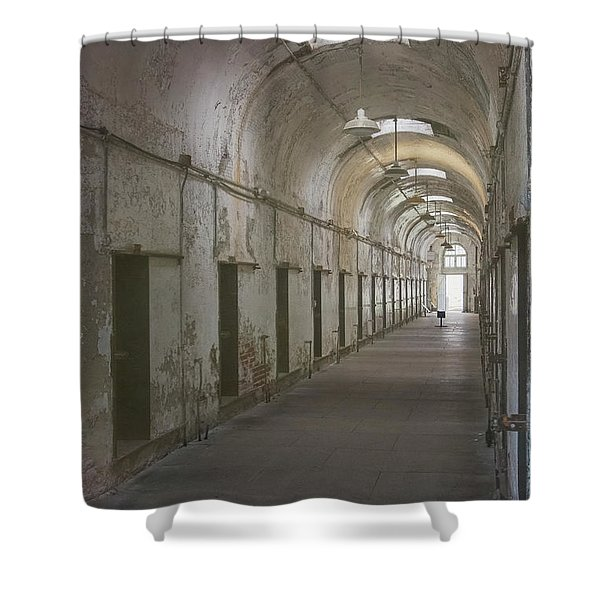 Shower Curtain featuring the photograph Cellblock Hallway by Tom Singleton