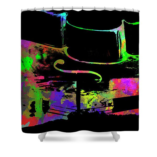 Shower Curtain featuring the mixed media Cello by David Millenheft