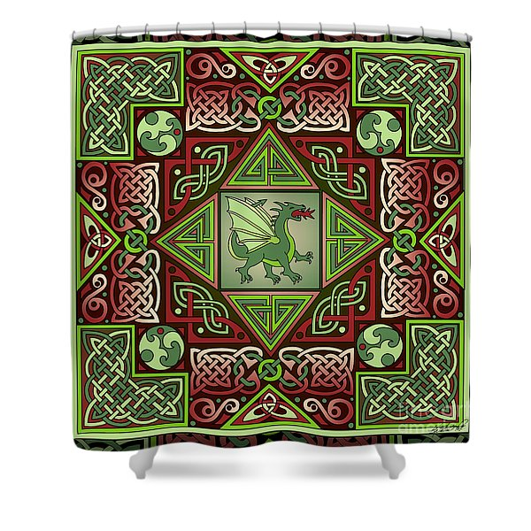 Celtic Dragon Labyrinth Shower Curtain