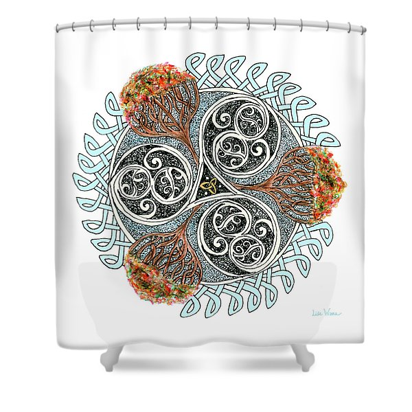 Celtic Knot With Autumn Trees Shower Curtain