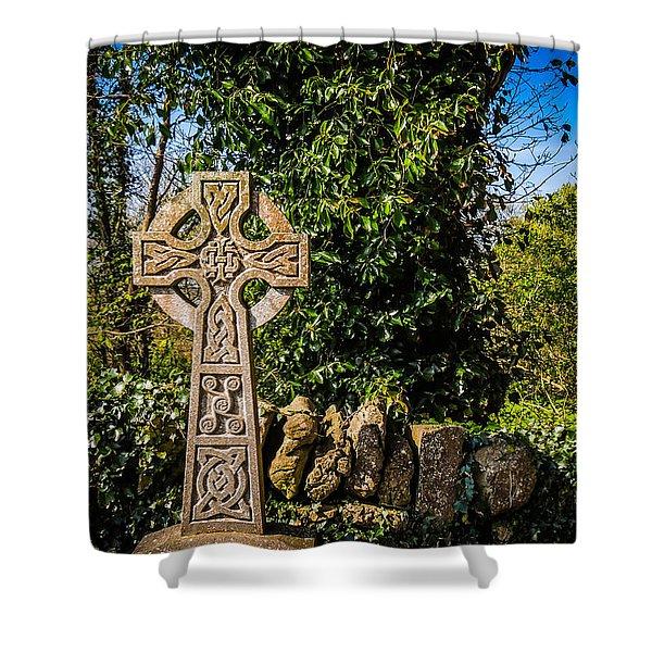 Celtic Knots Decorate A Celtic Cross Shower Curtain