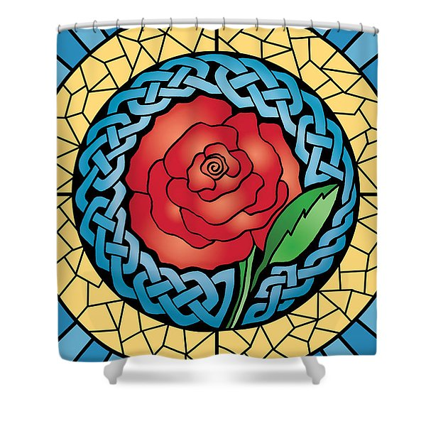 Celtic Rose Stained Glass Shower Curtain