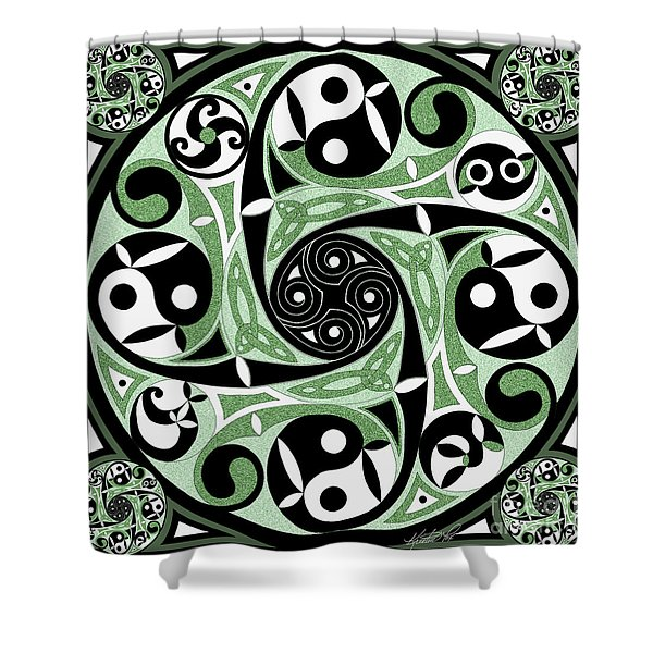 Celtic Spiral Stepping Stone Shower Curtain