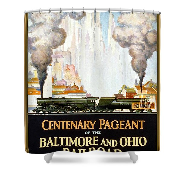 Centenary Pageant Of The Baltimore - Steam Engine - Retro Travel Poster - Vintage Poster Shower Curtain