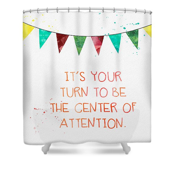Center Of Attention- Card Shower Curtain