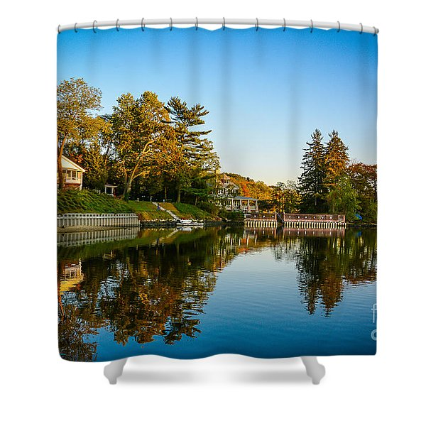 Centerport Harbor Autumn Colors Shower Curtain