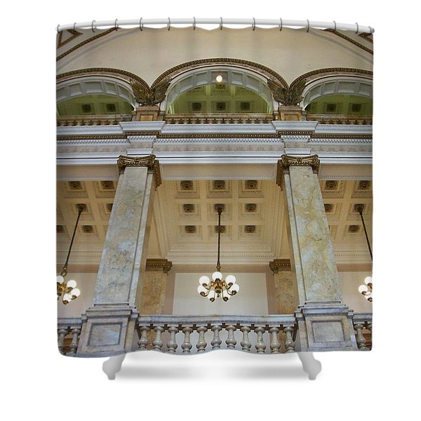 Shower Curtain featuring the photograph Central Library Milwaukee Interior by Anita Burgermeister