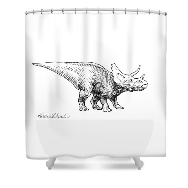 Cera The Triceratops - Dinosaur Ink Drawing Shower Curtain