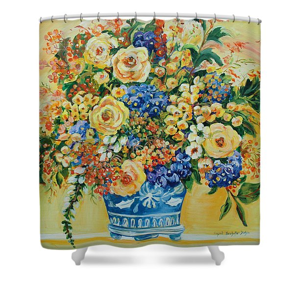 Ceramic Blue Shower Curtain