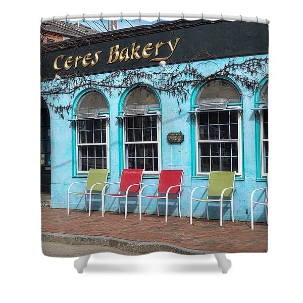 Shower Curtain featuring the photograph Ceres Bakery In Portsmouth Nh by Nancy De Flon