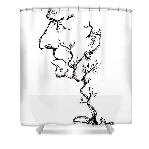 Cesar Salad-cracked Pots Shower Curtain
