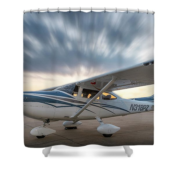 Cessna 182 On The Ramp Shower Curtain